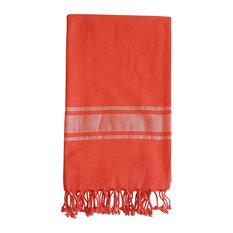 Turkish Towel Ibiza Weave, Fiery Coral