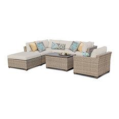 TKClassics - Hampton Outdoor Wicker 7-Piece Patio Set - Outdoor Lounge Sets