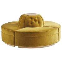 Retro Mustard Yellow Round Sofa Bench, Button Tufted Conversation Curved Circle