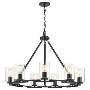 """Monroe 33""""w Chandelier, Black With Clear Glass"""