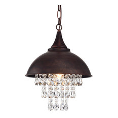 1 Light Antique Copper Dome Modern Farmhouse Pendant With Hanging Crystals