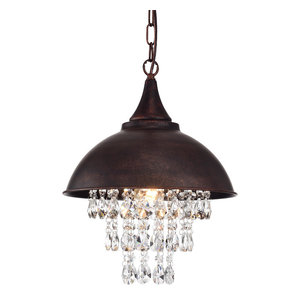 1-Light Antique Copper Dome Modern Farmhouse Pendant With Hanging Crystals Glam