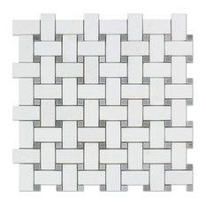 "12""x12"" Thassos White Greek Marble Honed Basketweave Mosaic Tile, Blue Dots"