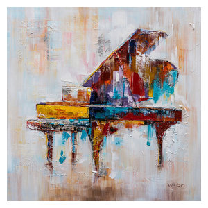 """Colorful Grand Piano"" Hand Painted Canvas Art, 40""x40"""