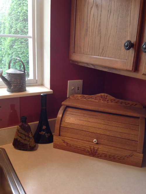 Gingersnap Maple Cabinets with Beige Quartz Countertop ...