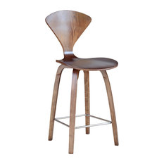 """Fine Mod Imports Wooden Counter Chair 25"""", Walnut"""