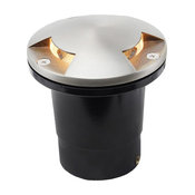 12V Composite Ground Well Light With 3-Directional Mushroom Cover, Satin Nickel