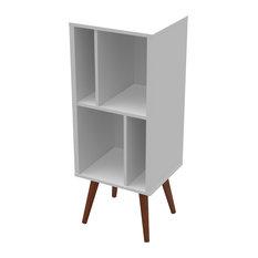 Medium Cubby Bookcase, White Satin