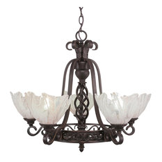 Elegant 5-Light Chandelier Dark Granite Italian Ice Glass