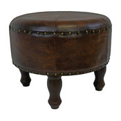 "International Caravan Carmel Faux Leather 20"" Round Ottoman in Brown"