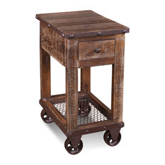 Crafters And Weavers   Addison Loft Rustic Solid Wood Side Table On Casters    Side Tables