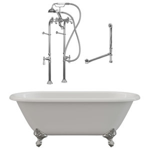 """60"""" Cast Iron Double Ended Clawfoot Tub & Complete Freestanding Plumbing PKG- CH"""