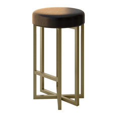 lucida modern furniture bowie luxury modern accent stool gold finish brown leather
