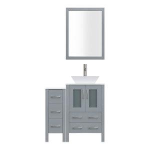 "42"" Modern Bathroom Vanity Set, Mirror and Sink LV2-C2-42-G, Gray"