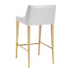 Gold Legs Leather Stool, Almond Cream, Bar Seat