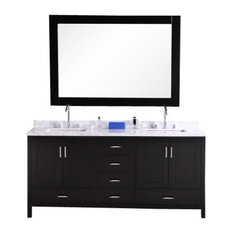 London Double-Sink Vanity Set, Espresso, 72""