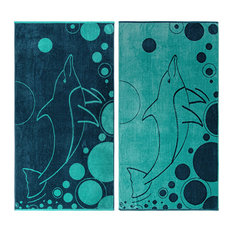 Myrtle Egyptian Cotton Dolphin Design Beach Towel Set, Blue and Teal, 2-Pieces