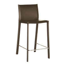 Crawford Brown Leather Counter Height Stool Set Of 2