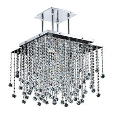 "Crystal Square Pendant Chandelier - Cityscape 598FD, 18"" W"