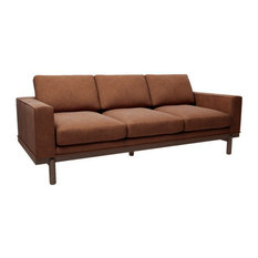 "Cantor 84"" Leather Sofa, Finish: Ginger, Leather: Fern"