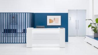 Valde Straight Reception Desk with Storage, White by MDD Furniture