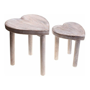 Set of Two Contemporary Stools in Solid Mango Wooden Frame, Heart Design