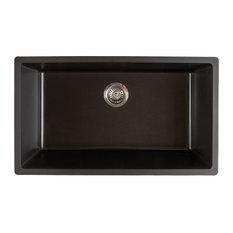 Titan Quartz Undermount 31 in. Single Bowl Kitchen Sink with Strainer, Black