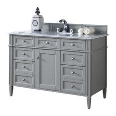 "Brittany 48"" Urban Gray Single Vanity, Absolute Black Rustic Top"