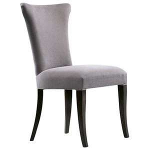 Contemporary Padded Dining Chair With Grey Upholstery