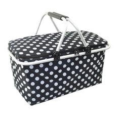 Collapsible Picnic Basket Insulated Picnic Basket Takeaway Box, Polka Dot
