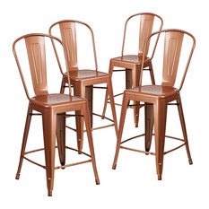 Set Of 4 Counter Stool Curved High Back For Extra Comfort Industrial Copper