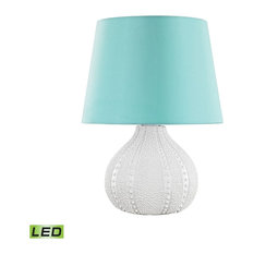 Aruba Outdoor LED Table Lamp With Sea Green Shade