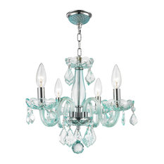 crystal lighting palace 4light crystal mini chandelier chrome and turquoise blue