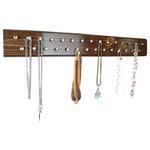 Urban Chandy - Wood Jewelry Organizer - Wall Mount, Silver - This handcrafted wood, wall mount Jewelry Holder, has 29 hooks and plenty of storage for all your precious jewels.
