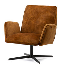 Brown Velvet Swivel Chair Eleonora Vivian