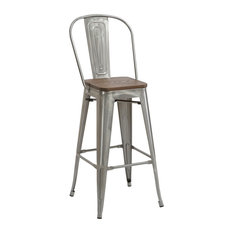 Tradd Metal and Wood Bistro Bar Stools, Set of 4, Gunmetal, 30""