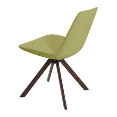 Eiffel Sword Dining Chair, Walnut Veneer Steel Base, Green Leatherette