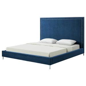 Giovanna Nailhead Trim Platform Bed, Navy Velvet, Queen
