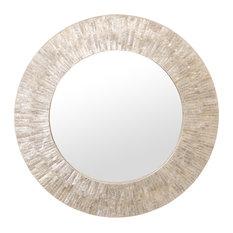 Round Capiz Seashell Sunray Wall Mirror, Off White