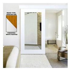 White Primed Mirror Oak Hardwood Sliding Barn Door + Hardware, Hardware With Fas