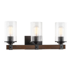 "Kira Home Brentwood 22.5"" Bathroom Light, Seeded Shades, Wood Style + Black"