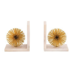Pom Bookend in Gold And White