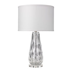 Laurel Table Lamp, Clear Glass With Medium Drum Shade, White Linen