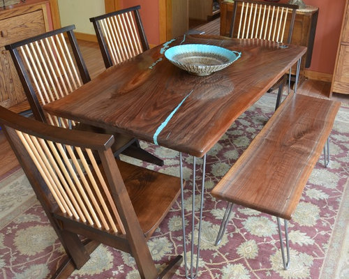 Black walnut slab kitchen table w turquoise inlay for Teal kitchen table