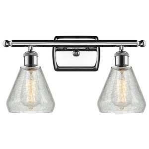 """2-Light Conesus 16"""" Bath Fixture, Polished Chrome, Shade: Clear Crackle"""