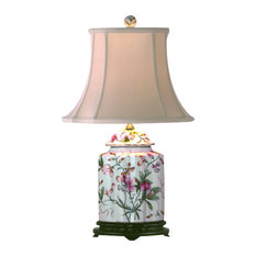 Porcelain Scalloped Jar Floral Table Lamp