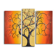"Hand Painted ""Thai tree dance"" 3-Piece Set Oil Painting"