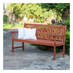 Malibu Outdoor Patio Plaid 5' Eucalyptus Hardwood Bench