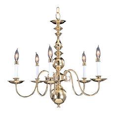 """Framburg 9126 Jamestown 5 Light 24"""" Taper Candle Chandelier, Polished Brass"""