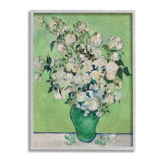 "Flower Pot Green White Van Gogh Classical Painting, 16""x20"", Gray Frame"